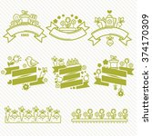 linear farm and gardening logo... | Shutterstock .eps vector #374170309