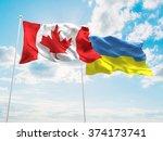 canada   ukraine flags are... | Shutterstock . vector #374173741