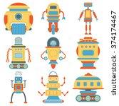 set of vintage robots. flat... | Shutterstock .eps vector #374174467