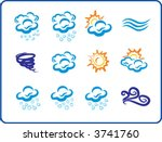 blue weaher icons hand drawing
