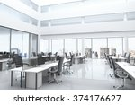 modern office with open space... | Shutterstock . vector #374176627