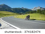 close view on the motorbike on... | Shutterstock . vector #374182474