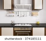 modern kitchen with black... | Shutterstock . vector #374185111