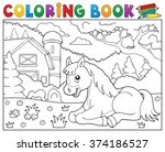 coloring book horse near farm... | Shutterstock .eps vector #374186527