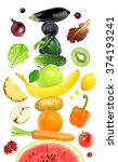 fruits and vegetables on white. ... | Shutterstock . vector #374193241