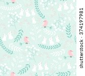 vector seamless pattern  nature ... | Shutterstock .eps vector #374197981