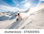 young man skiing in powder snow | Shutterstock . vector #374203501