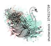 swan watercolor  abstract...   Shutterstock .eps vector #374217739