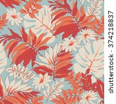 tropical leaves print... | Shutterstock .eps vector #374218837