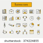 business icons set vector.line... | Shutterstock .eps vector #374224855