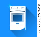 gas stove  on blue background.... | Shutterstock .eps vector #374226031