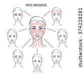 set of face massage... | Shutterstock .eps vector #374228281