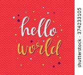 hello world. conceptual... | Shutterstock .eps vector #374233105