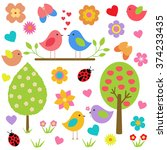 vector set of spring theme.... | Shutterstock .eps vector #374233435