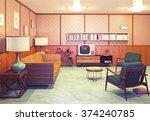 beautiful retro interior at the ...   Shutterstock . vector #374240785