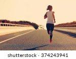 young fitness woman runner... | Shutterstock . vector #374243941