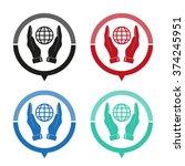 hand hold globe   vector icon ... | Shutterstock .eps vector #374245951