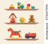 baby toys icons on shelf. flat... | Shutterstock .eps vector #374247994