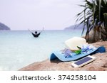 beautiful blue hat and... | Shutterstock . vector #374258104