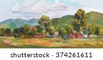 oil painting landscape with... | Shutterstock . vector #374261611
