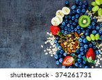 fresh healthy ingredients  oat... | Shutterstock . vector #374261731