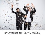 two young men dancing on party | Shutterstock . vector #374270167
