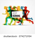 running marathon  people run ... | Shutterstock .eps vector #374271934