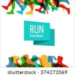 running marathon  people run ... | Shutterstock .eps vector #374272069