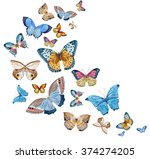 Watercolor Set Of Butterflies...