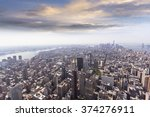 Aerial View Of Manhattan's...