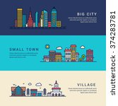 big city  small town and... | Shutterstock .eps vector #374283781