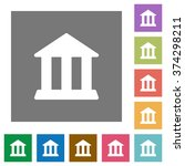 bank flat icon set on color...