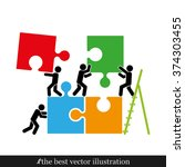 puzzle and people illustration | Shutterstock .eps vector #374303455