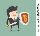 businessman carrying a money... | Shutterstock .eps vector #374305714