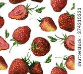 seamless watercolor strawberry  ... | Shutterstock . vector #374310331