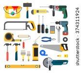 working tools vector set.    Shutterstock .eps vector #374311924