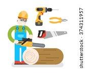 construction woodworker cutting ... | Shutterstock .eps vector #374311957