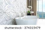 modern bright bathroom 3d render | Shutterstock . vector #374315479