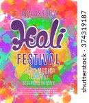 holi festival poster. template... | Shutterstock .eps vector #374319187