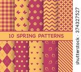 set of spring patterns | Shutterstock .eps vector #374327527