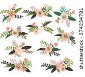 vintage wedding flower bouquet... | Shutterstock .eps vector #374334781