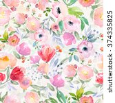 watercolor floral botanical... | Shutterstock . vector #374335825