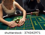 couple playing roulette wins at ... | Shutterstock . vector #374342971