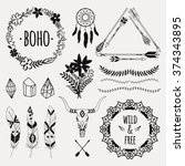 vector ethnic set with arrows ... | Shutterstock .eps vector #374343895
