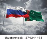 russia   turkmenistan flags are ... | Shutterstock . vector #374344495