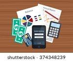 mobile bank concept. personal...   Shutterstock .eps vector #374348239