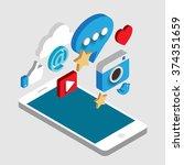 social media flat 3d isometric...