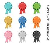 set of blank award rosettes in... | Shutterstock .eps vector #374352241