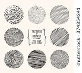 hand drawn textures and brushes.... | Shutterstock .eps vector #374354341