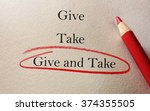give and take red pencil circle ... | Shutterstock . vector #374355505